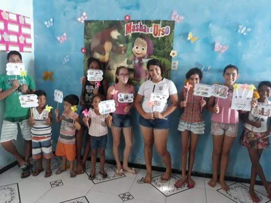 CRIANÇAS E ADOLESCENTES DO POVOADO RIO DAS PEDRAS PARTICIPAM DE ATIVIDADES SOBRE O TRABALHO INFANTIL