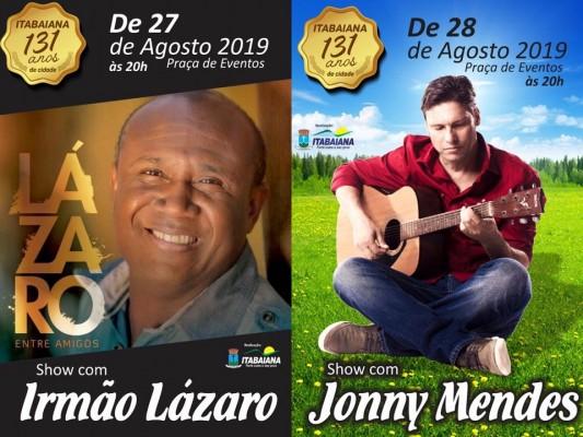 ANIVERSÁRIO DE ITABAIANA TERÁ IRMÃO LÁZARO E JONNY MENDES