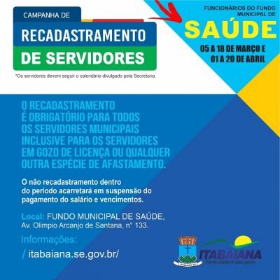 PREFEITURA DE ITABAIANA CONVOCA SERVIDORES DA SECRETARIA DA SAÚDE PARA ATUALIZAÇÃO DE DADOS CADASTRAIS